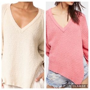 Asymmetrical Free People Sweater Large white pink